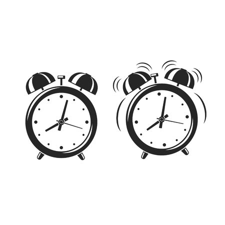 Alarm clock icons standing and ringing wake-up time isolated on white background. Retro style cartoon clock. Vector illustration