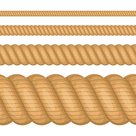 Set of different thickness ropes isolated on white background. Nautical twisted Rope, Brown twine in flat cartoon style. Vector illustration