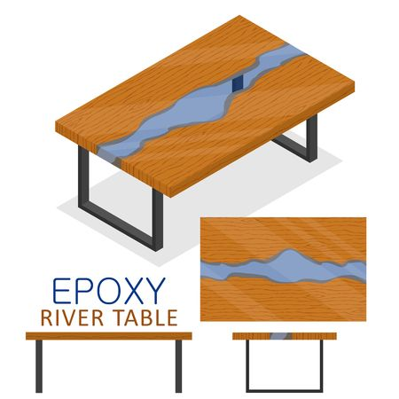 Rable made of wood and transparent epoxy resin. Isometric Epoxy river table furniture loft design style isolated on white background. Vector illustration