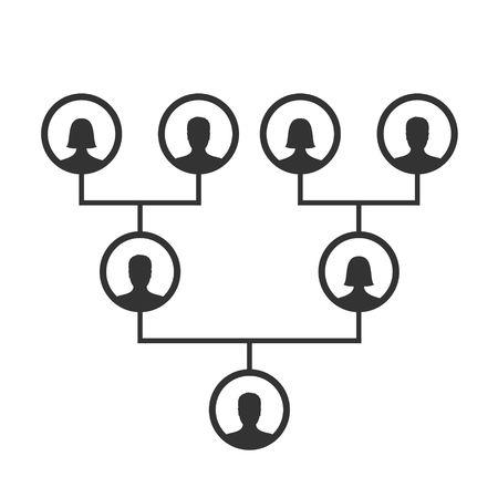 Vorlage für Stammbaum, Stammbaum oder Ahnentafel. Familienstammbaum Icons Infografik Avatare Porträts in kreisförmigen Rahmen, die durch Linien verbunden sind. Verbindungen zwischen Verwandten. Blutlinienvektor Vektorgrafik
