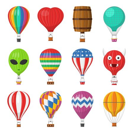 Aerostat Balloon transport with basket set isolated on white background, Cartoon air-balloon different shapes ballooning adventure flight, ballooned traveling flying toy, Vector illustration Vetores