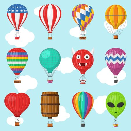 Aerostat Balloon transport with basket set flying in sky, Cartoon air-balloon different shapes ballooning adventure flight, ballooned traveling flying toy, Vector illustration