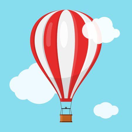 Transporte en globo aerostático con canasta volando en el cielo azul y las nubes, icono de globo de aire de dibujos animados vuelo de aventura en globo, juguete volador de viaje en globo, ilustración vectorial
