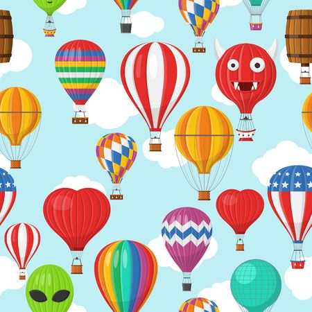 Aerostat Balloon transport with basket and clouds flying in blue sky Seamless Pattern, Cartoon air-balloon different shapes ballooning adventure flight, ballooned traveling flying, Background Vector