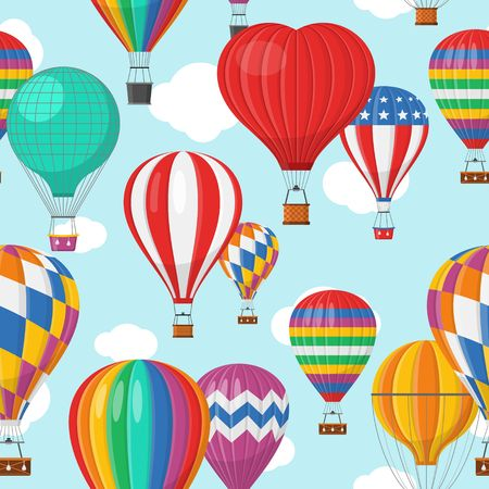 Aerostat Balloon transport with basket and clouds flying in blue sky Seamless Pattern, Cartoon air-balloon different shapes ballooning adventure flight, ballooned traveling flying, Background Vector illustration