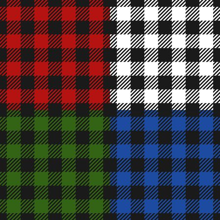 Lumberjack plaid seamless pattern flannel set, Alternating colorful squares checkered background. Scottish cage. Vector illustartion
