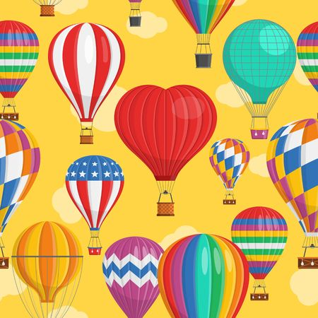 Aerostat Balloon transport with basket and clouds flying in evening sky Seamless Pattern Cartoon air-balloon different shapes ballooning adventure flight, ballooned traveling flying, Background Vector