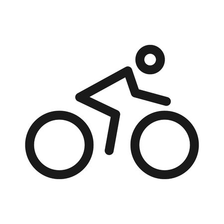 Cyclist icon line, Bicycle and human silhouette concept logo template isolated on white background. Vector
