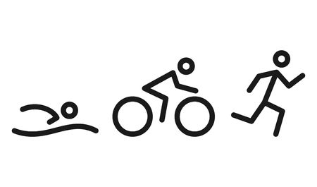 Triathlon activity icons - swimming, running, bike. Swimming, cycling and outdoor sports icons isolated on white background. Vector