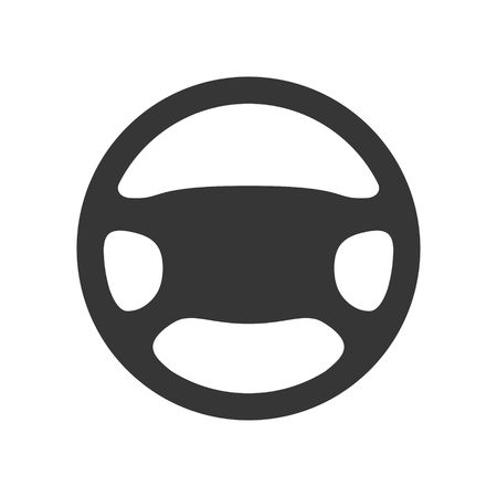 Steering wheel icon isolated on white background. Car wheel control silhouette, Black auto part driving in flat style. Vector illustration