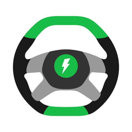 Steering wheel electric car icon isolated on white background. Car wheel control silhouette, green auto part driving in flat style. Vector illustration Stock Illustratie