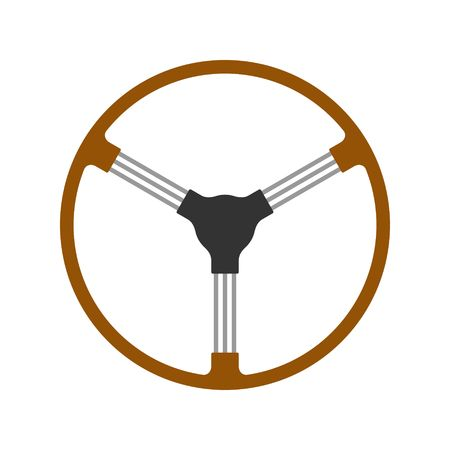 Steering wheel retro car icon isolated on white background. Car wheel control silhouette, Antique wooden classic car auto part driving in flat style. Vector illustration