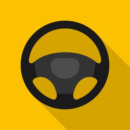 Steering wheel icon isolated on yellow background. Car wheel control silhouette, Black auto part driving in flat style. Vector illustration Stock Illustratie