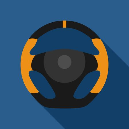 Steering wheel sport car icon isolated on yellow background. Car wheel control silhouette, Black auto part driving in flat style. Vector illustration Stock Illustratie