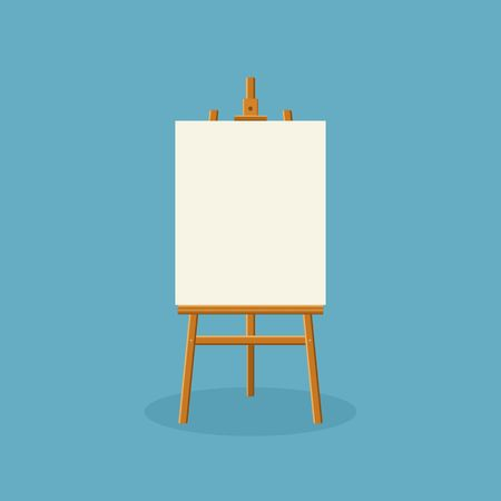 Wood easel or painting art board with white canvas on blue background. Easel with paper sheets. Artwork blank poster mockup. Vector illustration Stock Illustratie