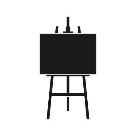 Wood easel icon or painting art board with canvas isolated on white background. Easel with paper sheets. Artwork blank poster mockup. Vector illustration