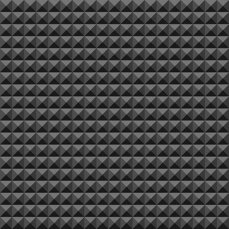 Akustisches Schaumgummiwandmuster, dunkler nahtloser Hintergrund mit Pyramiden- und Dreieckbeschaffenheit für Tonstudioaufnahme, Vektorillustration.