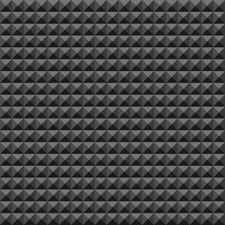 Acoustic foam rubber wall pattern, Dark seamless background with pyramid and triangle texture for sound studio recording, Vector illustration.