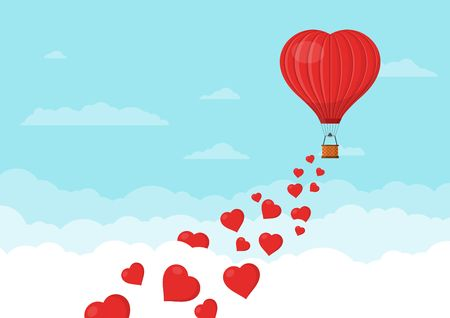Red heart air balloons flying in the blue sky with clouds. Saint Valentines day greeting card. Hot air balloon shape of a heart with basket. Vector illustration Zdjęcie Seryjne - 126952384
