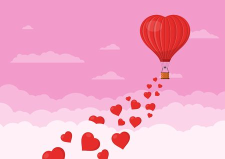 Red heart air balloons flying in the pink sky with clouds. Saint Valentines day greeting card. Hot air balloon shape of a heart with basket. Vector illustration Stock Illustratie