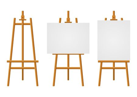 Wood easels or painting art boards with white canvas of different sizes. Easels with horizontal and vertical paper sheets. Artwork blank poster mockups. Vector illustration Illustration
