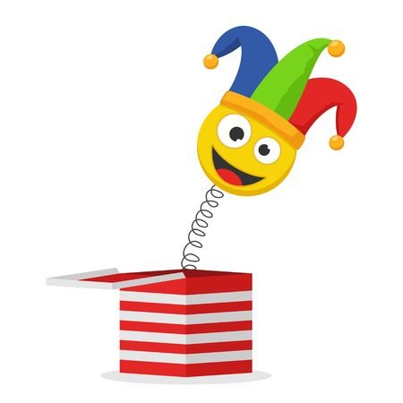 Jack in the box toy isolated on white background. Jester hat and laughing emoticon. Surprise joke for April Fools day. Vector illustration 일러스트