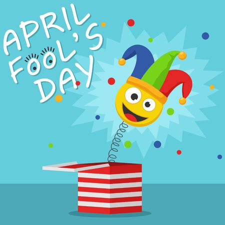 First April Fool Day happy holiday greeting card. Jack in the box toy on blue background. Jester hat and laughing emoticon. Surprise joke Vector illustration