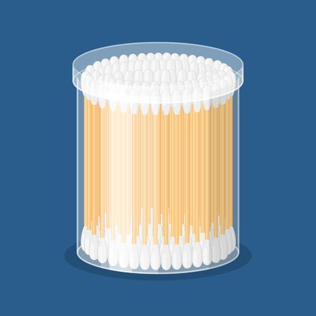 Cotton swab in container isolated on blue background. Care and hygiene. Wooden ear stick and cosmetic bud. Bath and makeup symbols. Vector illustration