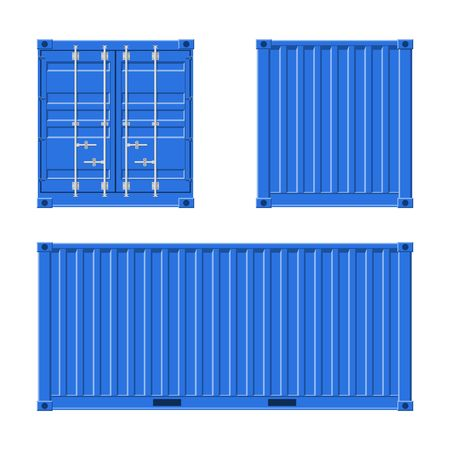 Blue Cargo Container for shipping and sea export isolated on white background. Front, back and side view. Logistics and transportation Vector Illustration