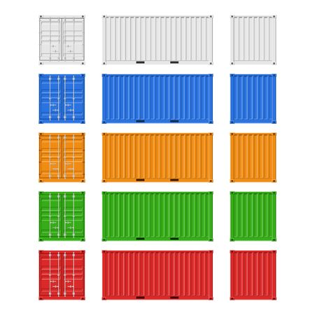 Cargo Containers set for freight shipping and sea export isolated on white background. Front, back and side view. Logistics and transportation Vector Illustration Ilustracja