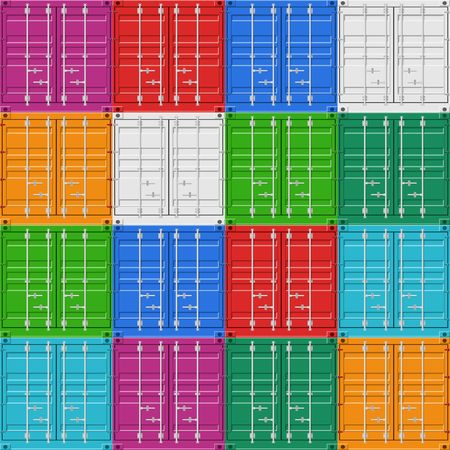 Cargo Containers stack for freight shipping and sea export seamless pattern. Sea Port logistics and transportation Vector Illustration
