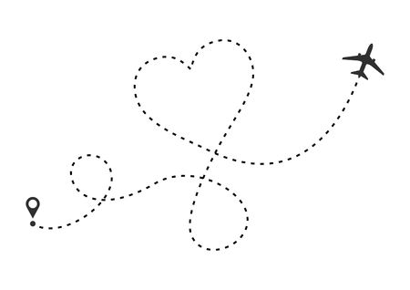 Love airplane route. Heart dashed line trace and plane routes isolated on white background. Romantic wedding travel, Honeymoon trip. Hearted plane path drawing. Vector illustration Ilustração