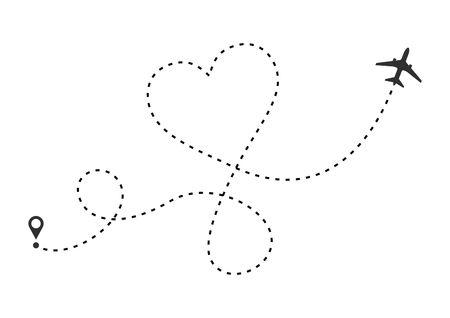Me encanta la ruta del avión. Traza de línea discontinua de corazón y rutas de avión aisladas sobre fondo blanco. Viaje de boda romántico, viaje de luna de miel. Dibujo de trayectoria de plano de corazón. Ilustración vectorial