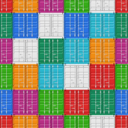 Cargo Containers stack for freight shipping and sea export seamless pattern. Sea Port logistics and transportation Vector Illustration Reklamní fotografie - 124158069