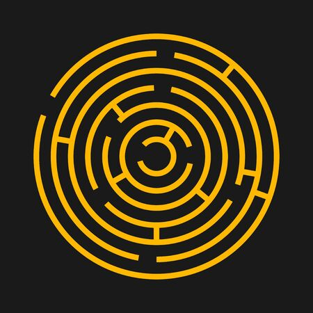 Round labyrinth maze game. Maze circle fun puzzle isolated on black background. Puzzle riddle logic game concept. Vector illustration Ilustracja