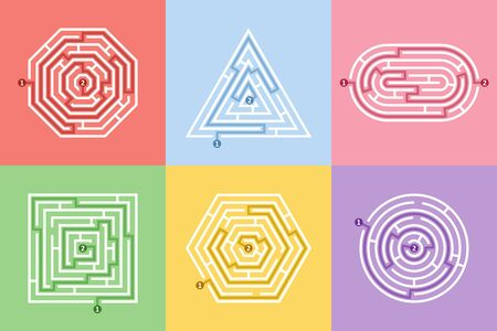 Labyrinth different shapes game and maze fun puzzle set. Maze square, round, hexagon, oval and triangle puzzle rebus riddle logic game concept. Vector illustration