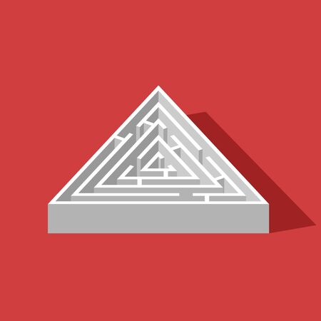 Labyrinth triangle isometric game and maze fun puzzle isolated on red background. Puzzle riddle logic game isometric concept. Vector illustration