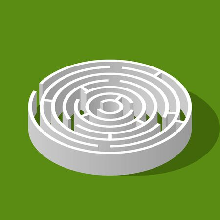 Labyrinth circle isometric game and maze fun puzzle isolated on green background. Puzzle riddle round logic game isometric concept. Vector illustration Ilustracja