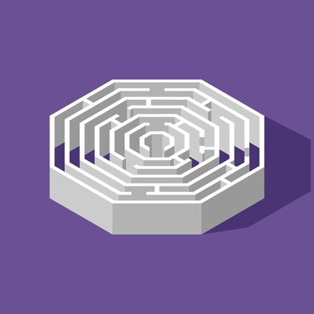 Labyrinth hexagon isometric game and maze fun puzzle isolated on purple background. Puzzle riddle logic game isometric concept. Vector illustration