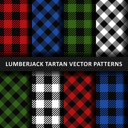 Lumberjack plaid seamless pattern flannel set, Alternating colorful squares checkered, Trendy Hipster Style Backgrounds. Scottish cage. Vector illustartion