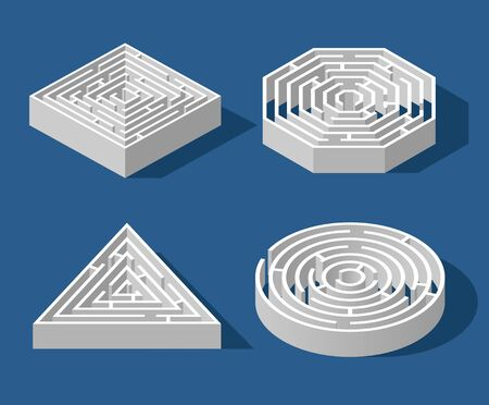 Set Labyrinth isometric game and maze fun puzzle isolated on blue background. Square, triangle, hexagon and circle. Puzzle riddle logic game isometric concept. Vector illustration Ilustracja