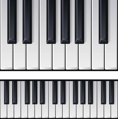 Realistic piano keys. Realistic detailed shaded piano keyboard seamless. Music instrument top view. Vector illustration Ilustracja