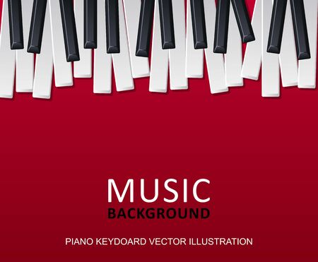 Musical red background with piano keys and text. Graphic design template can be used for background, backdrop, banner, brochure, leaflet, publication. Music festival poster template. Vector
