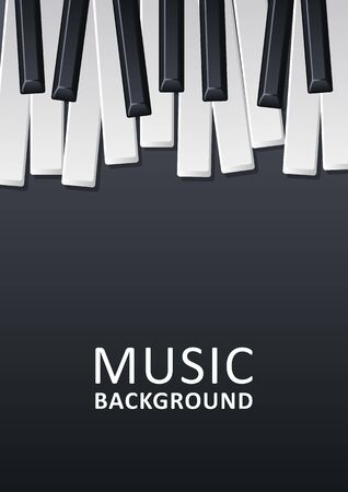 Musical black background with piano keys and text. Graphic design template can be used for background, backdrop, banner, brochure, leaflet, publication. Music festival poster template. Vector Zdjęcie Seryjne - 136551695