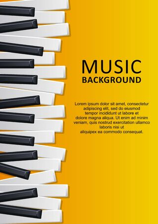 Musical yellow background with piano keys and text. Graphic design template can be used for background, backdrop, banner, brochure, leaflet, publication. Music festival poster template. Vector