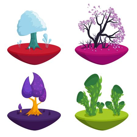 Fairytale trees set isolated on white background. Fantasy plants nature landscape elements, Funny colorful magic trees. Forest with cartoon treetops.