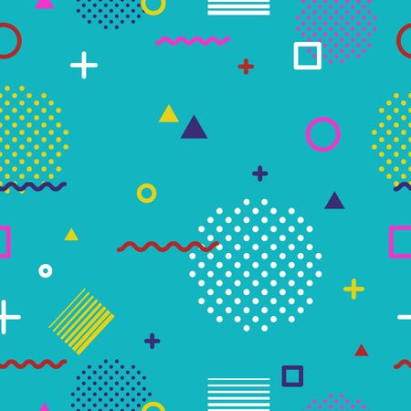 Abstract geometric seamless pattern in Memphis style on blue background. Fashion 80s-90s trends designs, Retro funky graphic with geometric shapes. Applicable for Banners, Posters, Flyers. Vector