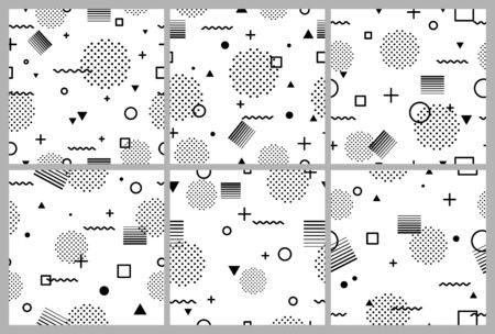 Set of black and white abstract geometric seamless pattern in Memphis style. Fashion 80s-90s, Retro funky graphic with geometric shapes. Applicable for Banners, Placards, Posters, Flyers. Vector