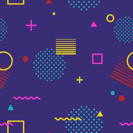 Abstract geometric seamless pattern in Memphis style on dark background. Fashion 80s-90s trends designs, Retro funky graphic with geometric shapes. Applicable for Banners, Posters, Flyers. Vector