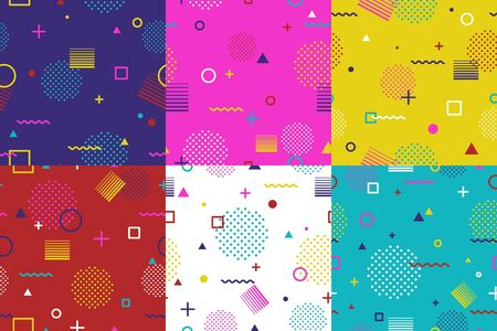Set of abstract geometric seamless pattern in Memphis style. Fashion 80s-90s trends designs, Retro funky graphic with geometric shapes. Applicable for Banners, Placards, Posters, Flyers. Vector